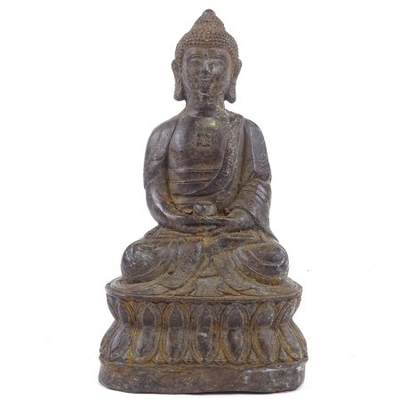 A Chinese patinated bronze seated Buddha, height 18cm