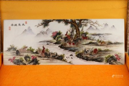 CHINESE PORCELAIN FAMILLE ROSE MOUNTAIN VIEWS PLAQUE