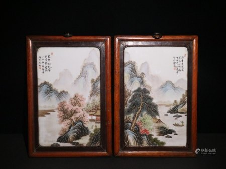 PAIR OF CHINESE PORCELAIN FAMILLE ROSE MOUNTAIN VIEWS PLAQUE