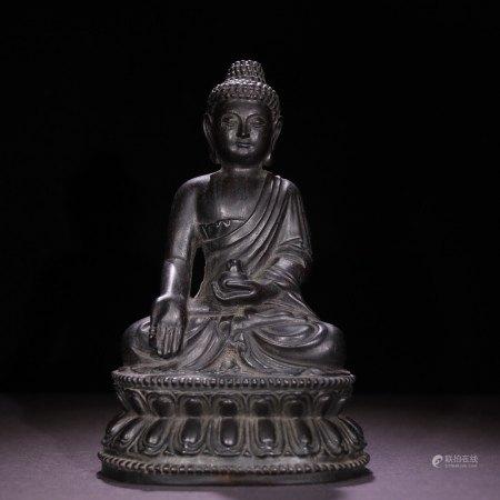 CHINESE HARDWOOD ZITAN SEATED BUDDHA
