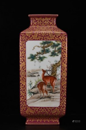 CHINESE PORCELAIN RED GROUND FAMILLE ROSE SQUARE VASE