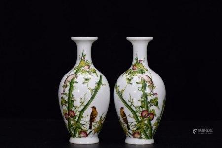 PARI OF CHINESE PORCELAIN ENAMEL GLAZE BIRD AND FLOWER VASES