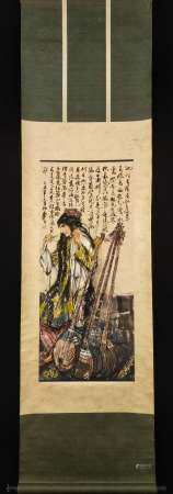 CHINESE SCROLL PAINTING OF GIRL DANCING