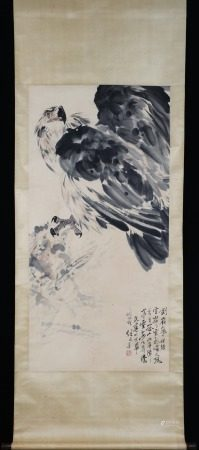 CHINESE SCROLL PAINTING OF EAGLEON ROCK