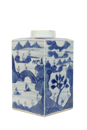 Late 18th/early 19th century Chinese porcelain vase of square section with blue and white decoration