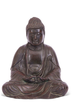 Sino-Tibetan bronze model of a Buddha in classic pose, probably 18th/19th century, 18cm high