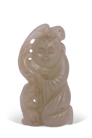 Chinese jade carving of a man with dog by his side, 6cm long