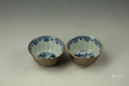 A pair of chinese Blue and White Porcelain Cup,17th Century
