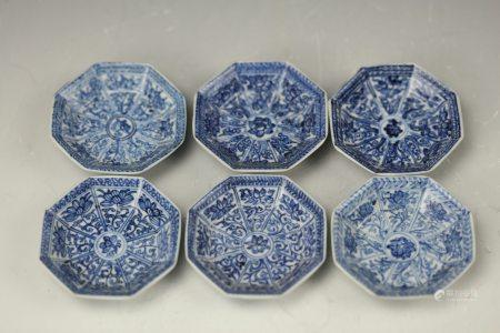 Six Blue and White Porcelain Octagon Dish