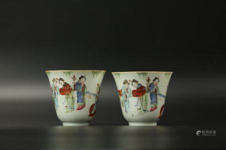 A Pair of Chinese Famille Rose Cups,Xianfeng