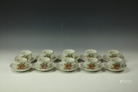 Ten Set of Herend Hungary Coffee Cup & Saucer 711