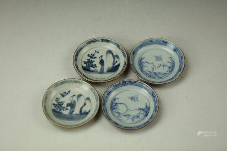 Four Chinesse Blue and White Porcelain Dish Qing Dynasty