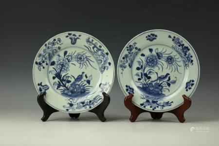 A Pair of Chinesse Blue and White Porcelain Dish Qing Dynasty