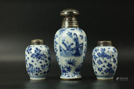 Three Chinese Blue and White Porcelain Vase with Silver Cover