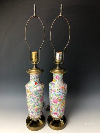 A Pair of Famille Rose Flural Vase Lamps