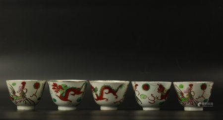 A Group of 5 DRAGON and PHOENIX Famille Rose Cups