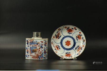 A Gilt Blue and White Iron Red Tea Jar and Saucer