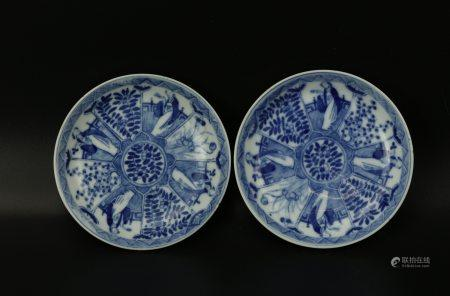 A Pair of FOUR BEAUTIES Blue and White Saucers