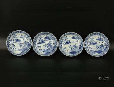 A Group of 4 Landscape Blue and White Dishes
