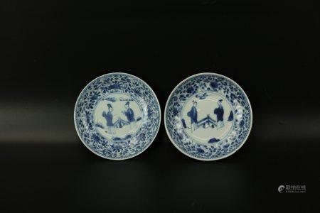 A Pair of FIGURAL Blue and White Saucers