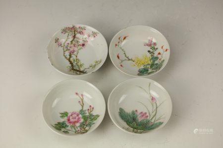 A Group of FOUR SEASONS Famille Rose Saucers