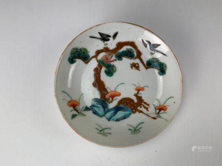 A Famille Rose Monkey Birds Plates