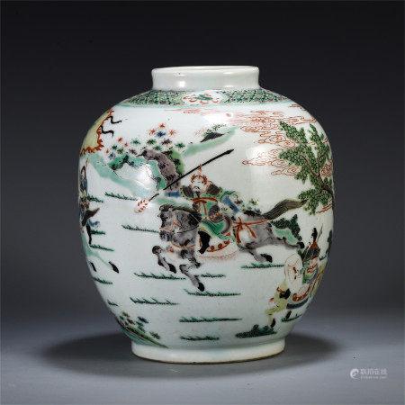 CHINESE WUCAI PORCELAIN FIGURE AND STORY JAR