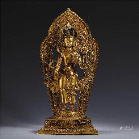 CHINESE STANDING GUANYIN IN GILT BRONZE