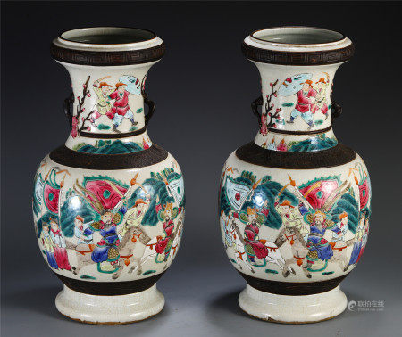A PAIR OF CHINESE FAMILLE ROSE FIGURE AND STORY VASE