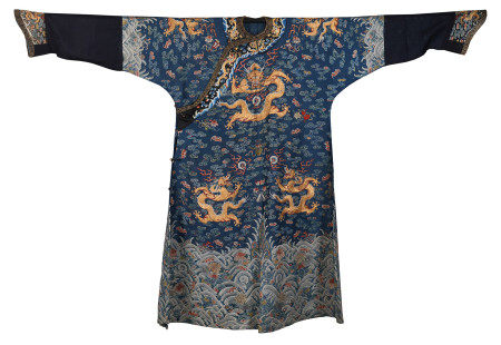 A CHINESE BLUE GROUND BROCADE AND EMBROIDERED SILK ROBE