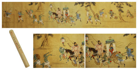 A CHINESE HANDSCROLL PAINTING OF ZHONG KUI MARRIED HIS SISTER