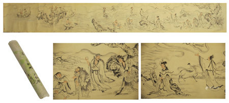 A CHINESE HANDSCROLL PAINTING OF IMMORTALS GATHERING BY DING GUANPENG
