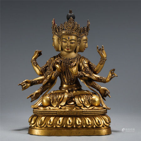 CHINESE BRONZE THREE-FACED EIGHT ARMS OF BUDDHA WITH CORONET