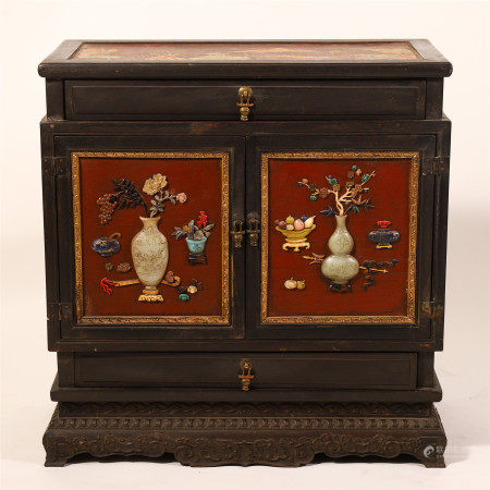 CHINESE LACQUER DISPLAY DOUBLE DOOR CABINETS WITH GEM STONE INLAID