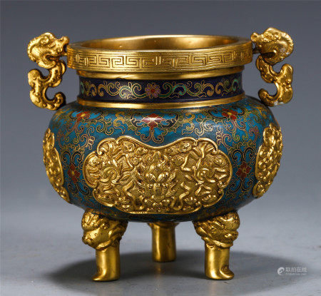 DELICATE CHINESE CLOISONNE GILT BRONZE DOUBLE BEAST HANDLE CENSER