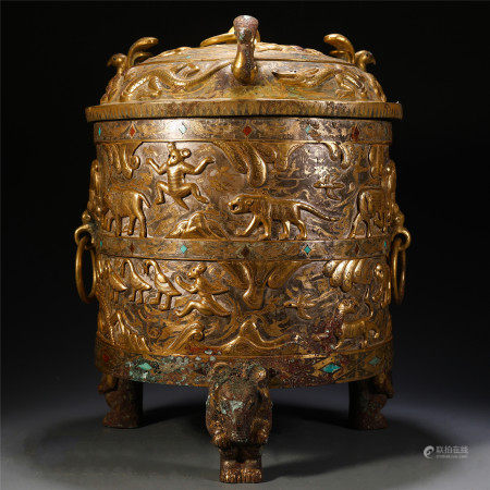 CHINESE GILT BRONZE SILVER FOUR FEET ZUN WITH GEM STONE INLAID