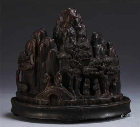 CHINESE AGALWOOD TABLE ITEM INSCRIBED WITH FIGURE IN MOUNTAIN