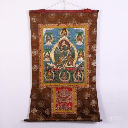 CHINESE TIBETAN THANGKA OF SEATED GUANYIN WITH LOTUS