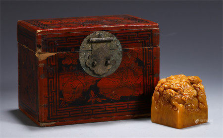 CHINESE TIANHUANG STONE CARVED DRAGON KNOB SEAL