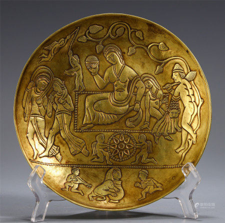 CHINESE BRONZE INSCRIBED WITH FIGURES MOTIF PLATE