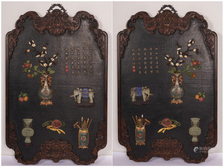 A PAIR OF CHINESE ROSEWOOD INLAID GEM STONE HANGING SCREEN