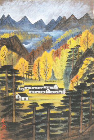 A CHINESE VERTICAL SCROLL OF PAINTING HOUSE VIEW IN MOUNTAIN BY LIN FENGMIAN