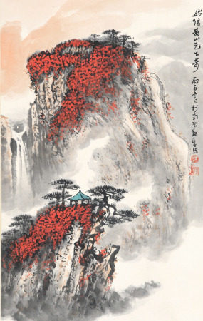 A CHINESE VERTICAL SCROLL OF PAINTING YELLOOW MOUNTAIN STRANGE PEAK BY WEI ZIXI