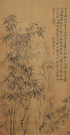 A CHINESE SCROLL INK PAINTING OF BAMBOO BY ZHENG BANQIAO