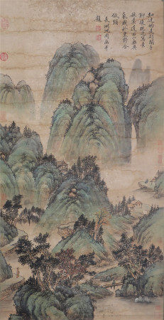 A CHINESE VERTICAL SCROLL OF PAINTING MOUNTAIN BY SHENZHOU