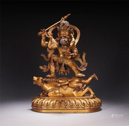 TIBETAN GILT BRONZE BUDDHIST GUARDIAN STANDING STATUE