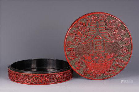 A CHINESE CARVED CHUN WORD FLOWER PATTERN CINNABAR ROUND LIDDED BOX