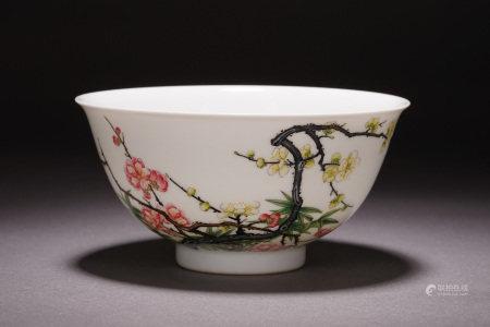 A CHINESE PORCELAIN ENAMEL FLOWER PLUM BRANCHES PATTERN BOWL