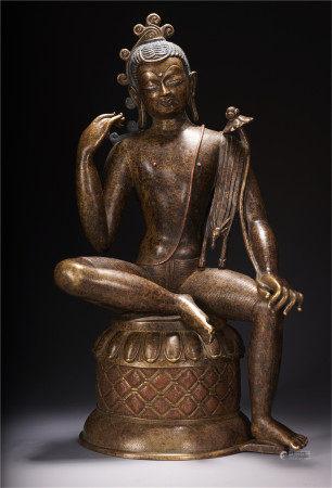 NEPAL UNRESTRAINED LOKEVARA BUDDHA SEATED STATUE