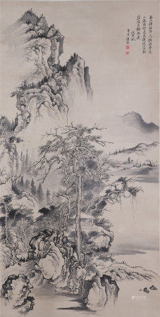 A CHINESE VERTICAL SCROLL OF INK PAINTING SCENERY BY TANGYIN